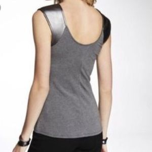 Express Faux Leather Shoulder Soft Fitted Tee